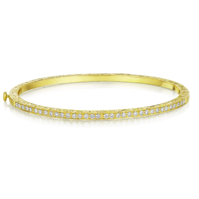 Penny Preville Engraved Yellow Gold Bangle With Diamonds