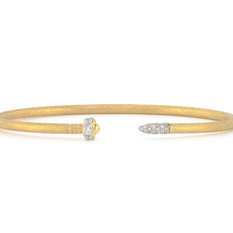 Jude Frances Lisse Open Diamond Nail Head Flexible Brushed Bangle