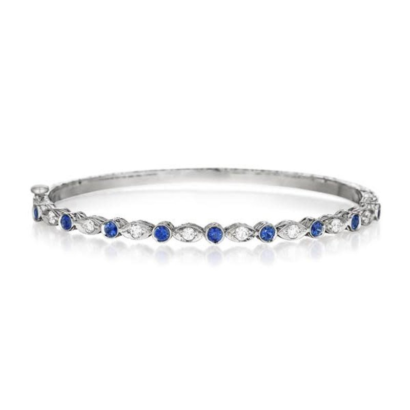 Penny Preville Blue Sapphire Round & Marquise Bangle White Gold