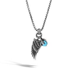John Hardy Legends Eagle Wing Turquoise Pendant Necklace