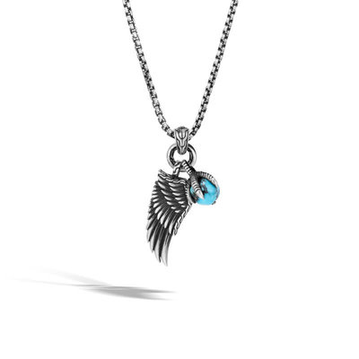 John Hardy Legends Eagle Wing Turquoise Pendant Necklace