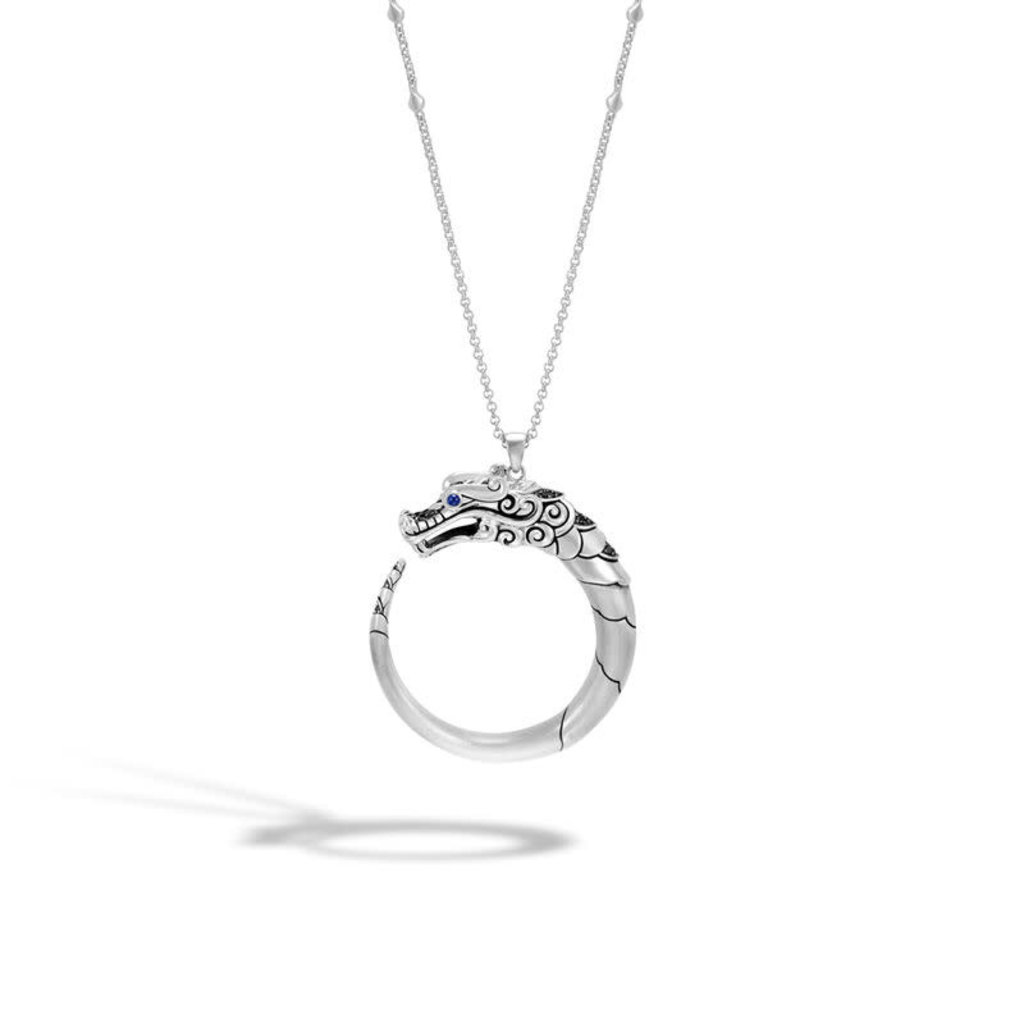 John Hardy Legends Naga Pendant Necklace With Black Sapphire and Black Spinel