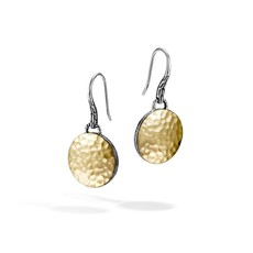 John Hardy Hammered Dot Round Drop Earrings with 18K Gold