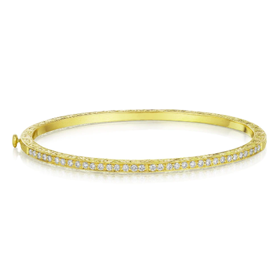 Penny Preville Yellow Gold and Diamond Thin Bangle