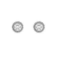 Penny Preville Round Stud Earrings - White Gold