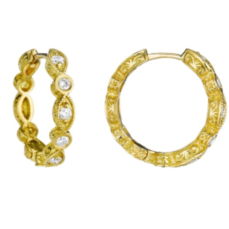 Penny Preville Petite Marquise Hoop Earrings