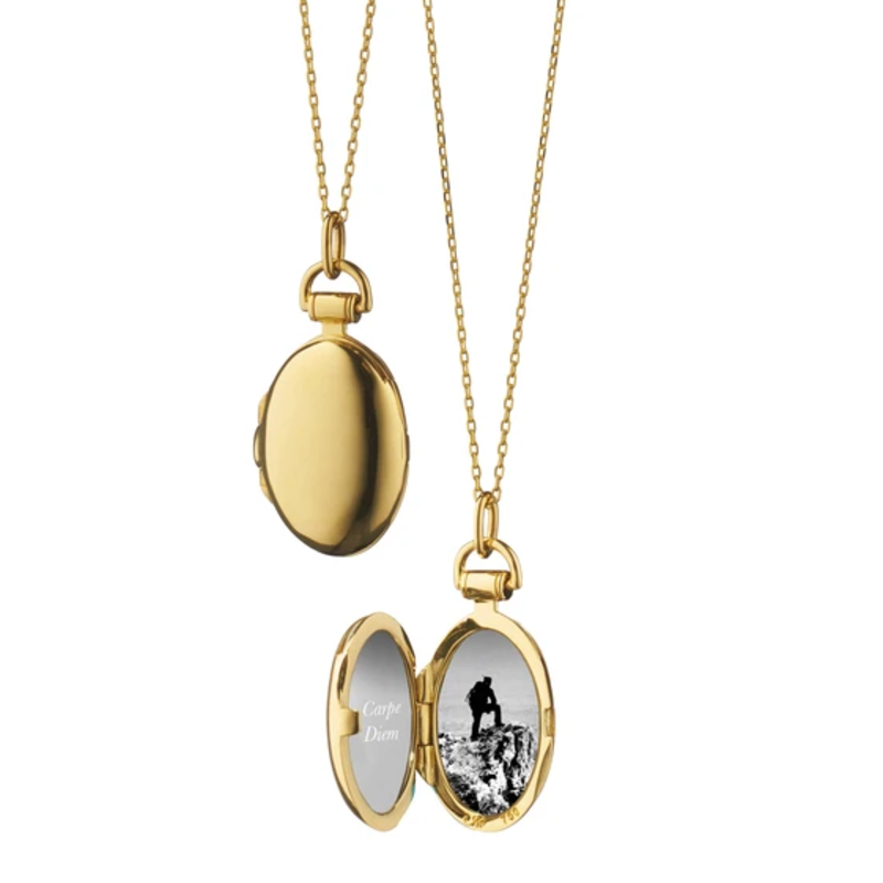 Monica Rich Petite Yellow Gold Anna Locket Necklace