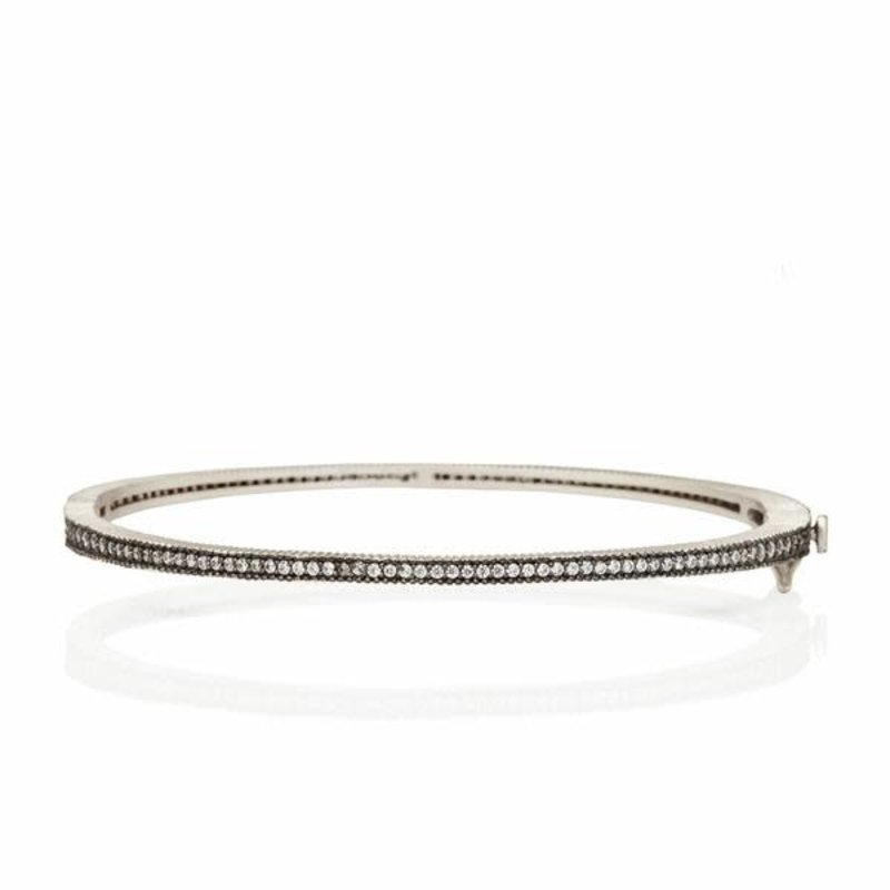 Freida Rothman Signature Thin Pave Hinge Bangle Ox Silver