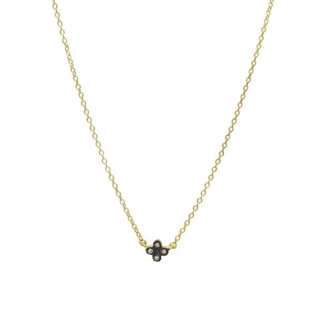 Freida Rothman Mini Clover Necklace - Gold and Black