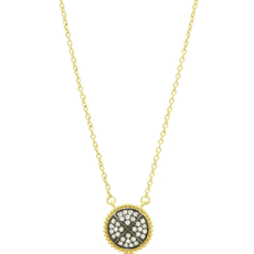 Freida Rothman Signature Pave Disc Pendant Necklace in Gold