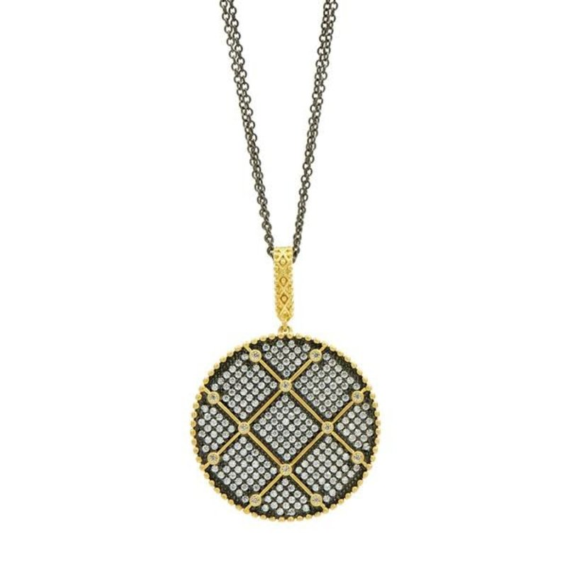 Freida Rothman Signature Double Sided Pendant Necklace Pave Gold/Rhodium