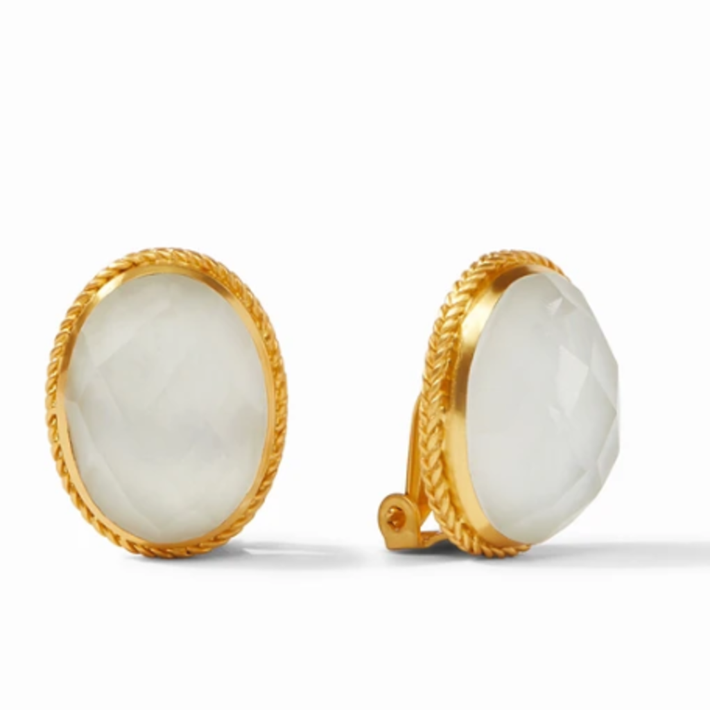 Julie Vos Verona Clip Earrings in Iridescent Clear Crystal