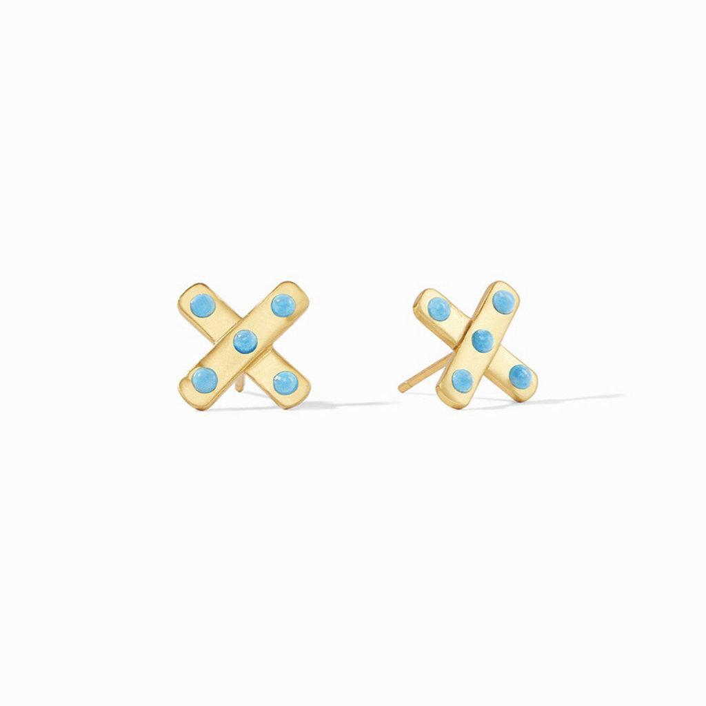 Julie Vos Paris X Stud Earrings in Pacific Blue
