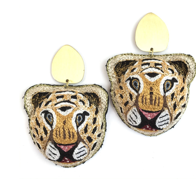 Allie Beads Tiger Matte Gold Post Earrings