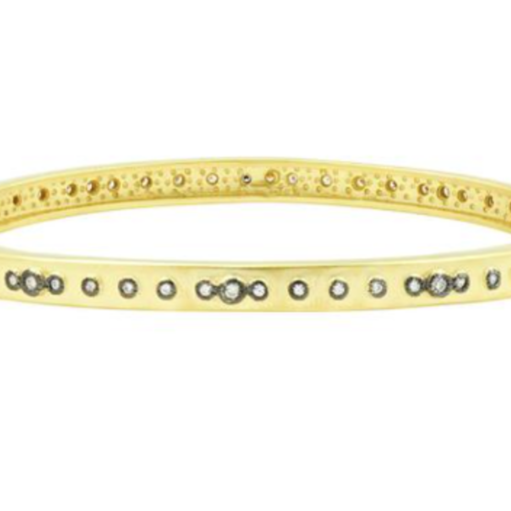 Freida Rothman Mini Stud Bezel Stone Eternity Hinge Bangle
