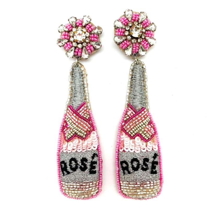 Allie Beads Rosé Bottle Earrings