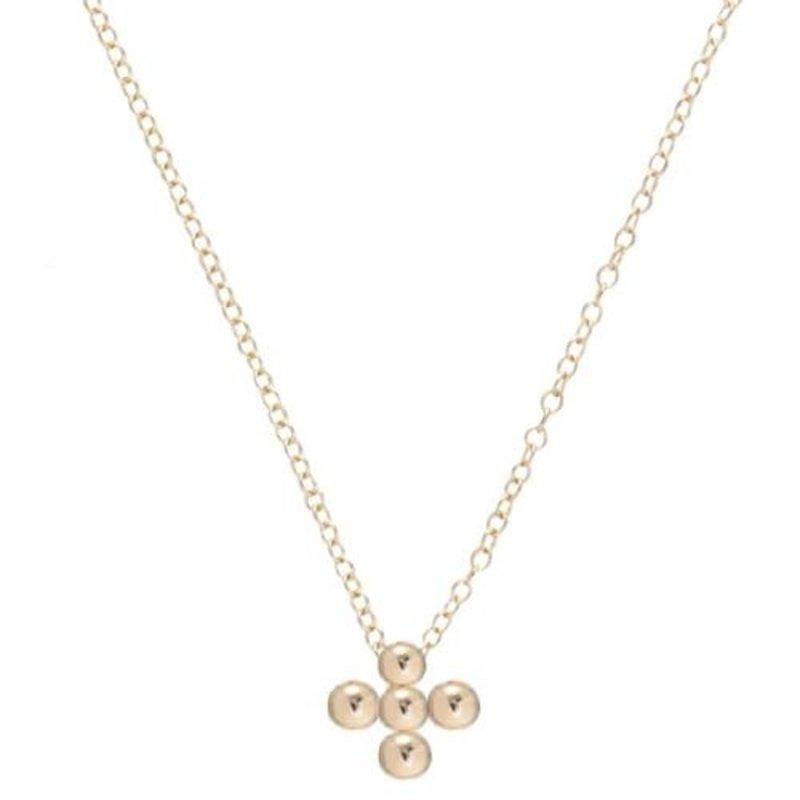 enewton designs llc Classic Beaded Signature Cross Gold- 3MM Bead Necklace