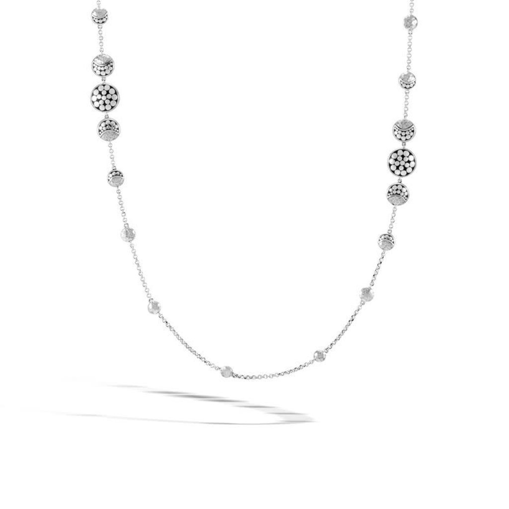 John Hardy Dot Moon Phase Hammered Station Necklace