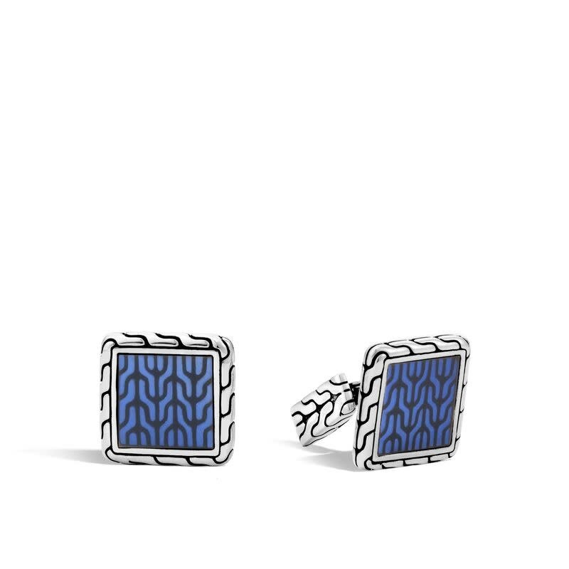 John Hardy Classic Chain Square Cufflinks With Blue Enamel