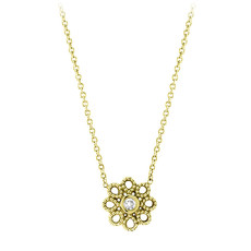 Penny Preville Gold Flower With Diamond In Center Necklace