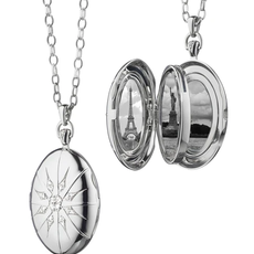 "Monica Rich The Four Image ""Premier"" Locket With Star Burst In Silver"