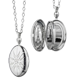 """Monica Rich The Four Image """"Premier"""" Locket With Star Burst In Silver Necklace"""