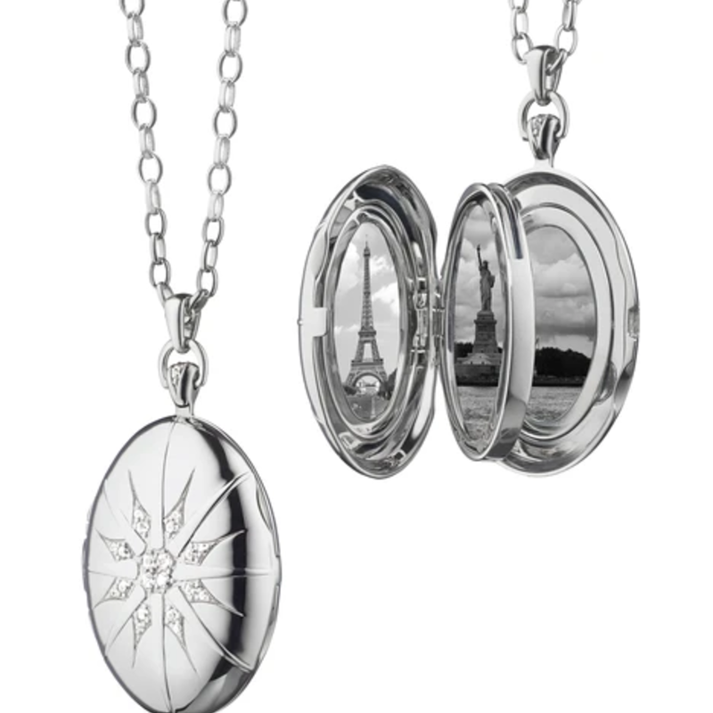 "Monica Rich The Four Image ""Premier"" Locket With Star Burst In Silver Necklace"