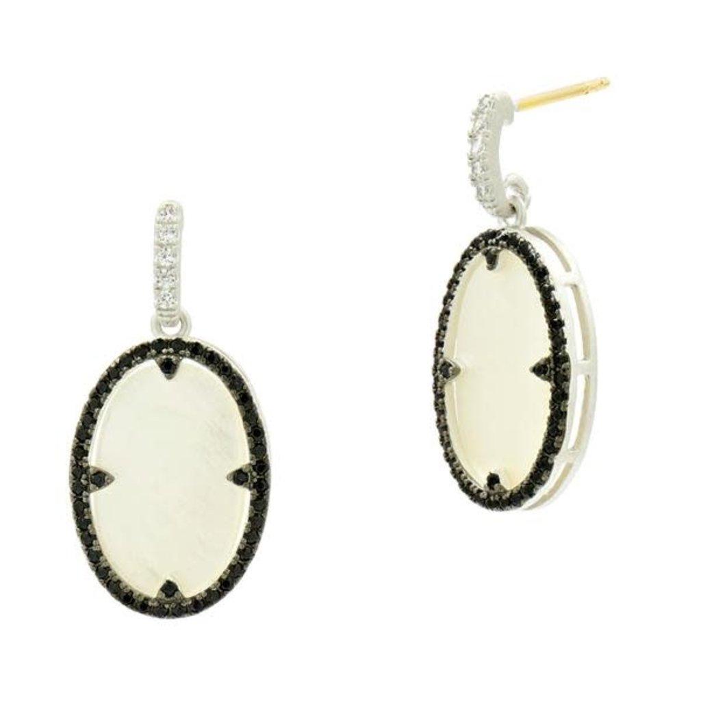 Freida Rothman Industrial Finish Mother of Pearl Oval Short Drop Earrings