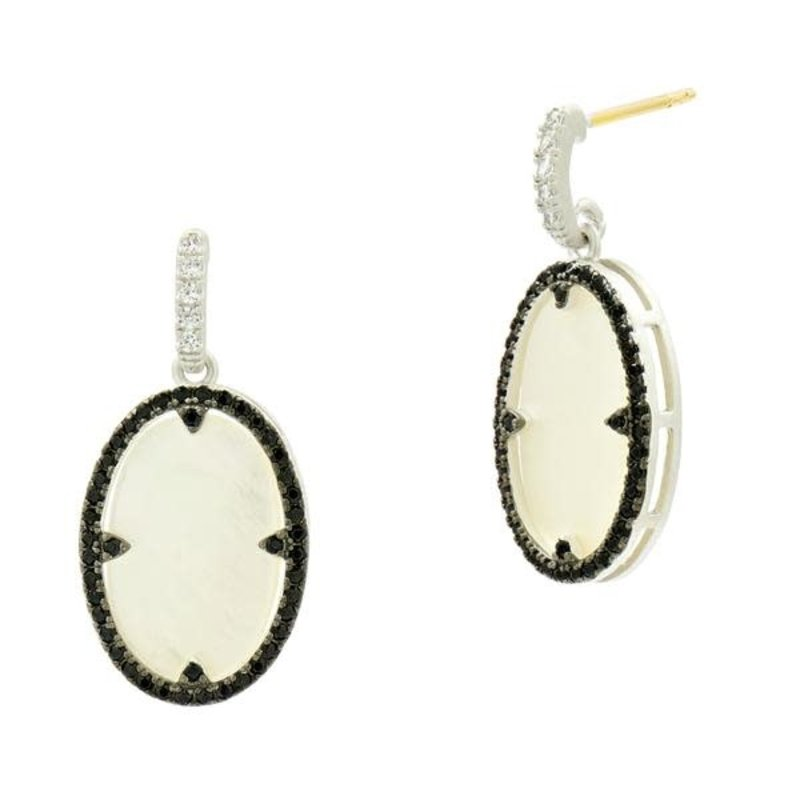 Freida Rothman Industrial Finish Mother of Pearl Oval Short Drop Earrings