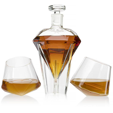 The Wine Savant Diamond Decanter S/2 Glasses