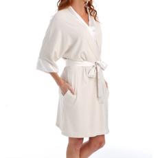 PJ Harlow Shala Rib Knit Satin Trim Camono Robe with Satin Belt