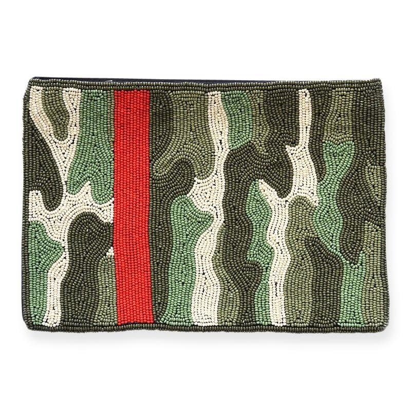 Ink + Alloy Camo Beaded Clutch