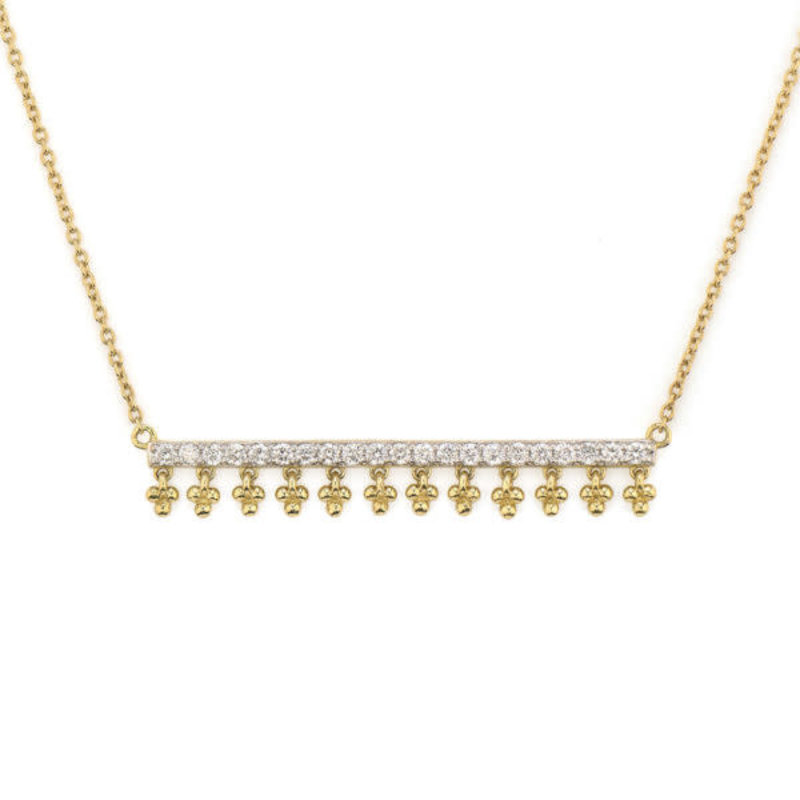 Jude Frances Provence Dancing Quads Diamond Bar Necklace