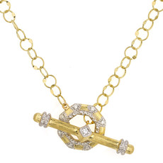 Jude Frances Lisse Uptown Open Octagonal Toggle Necklace Yellow Gold
