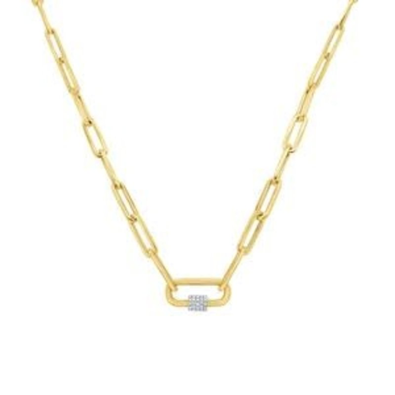 "Zoe Lev 14K Gold 16"" Large Paperclip Necklace With Diamond Carabiner"