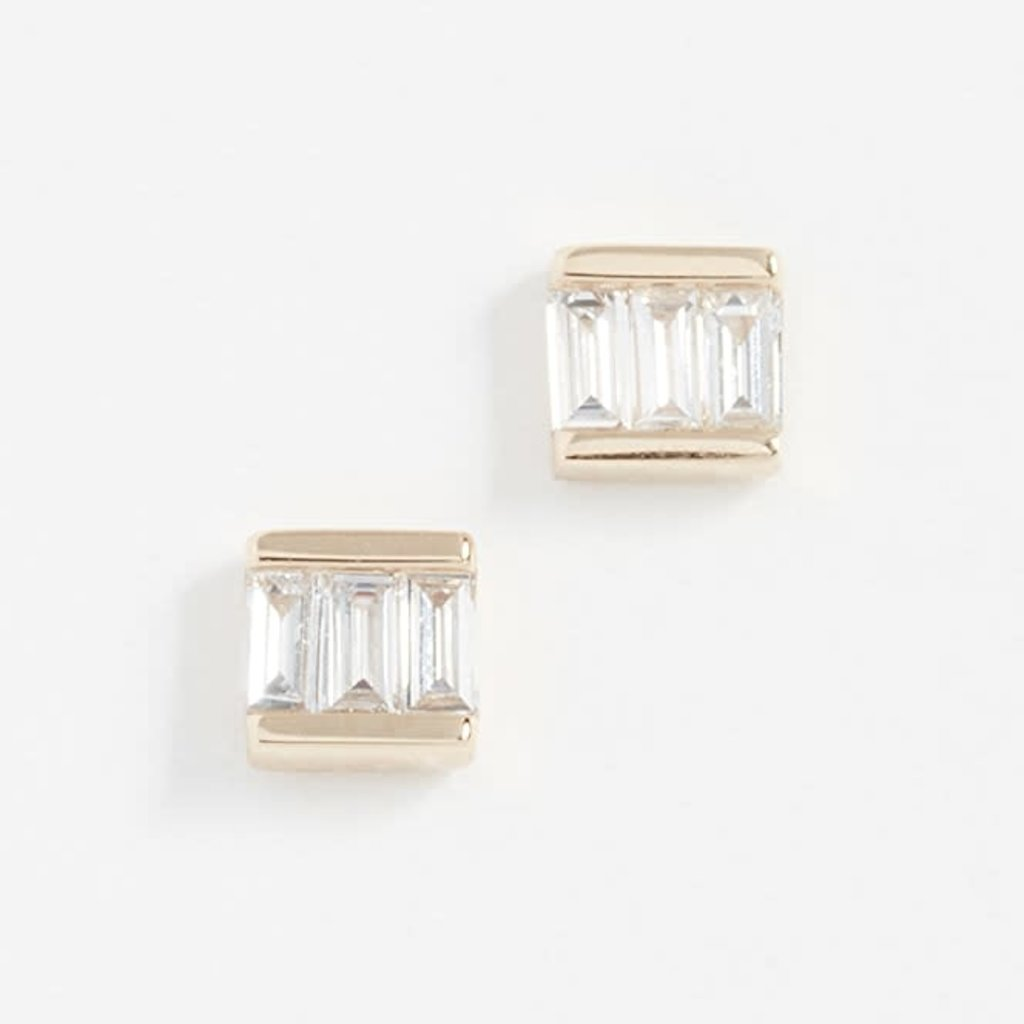 EF Collection Diamond Mini Baguette Studs