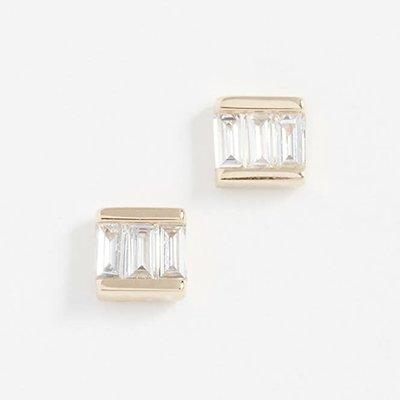 EF Collection Diamond Mini Baguette Studs