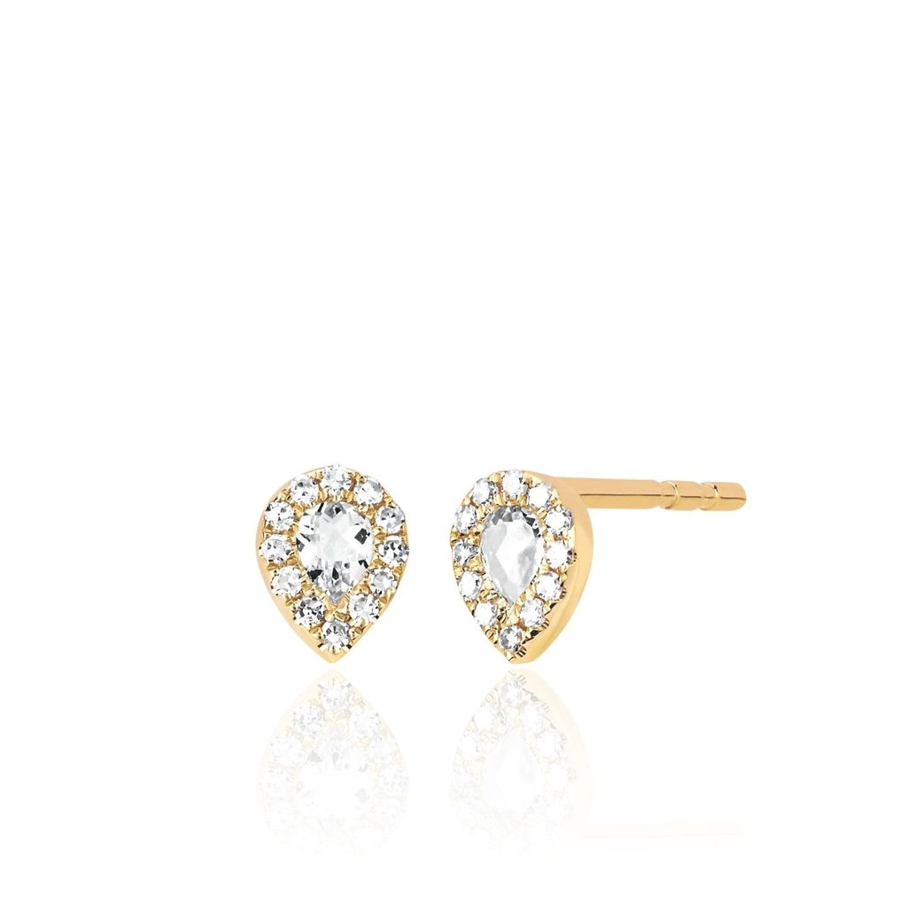 EF Collection Mini Topaz Teardrop Earrings Yellow Gold