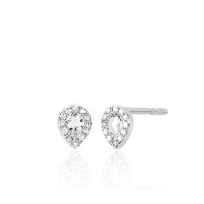 EF Collection Mini Topaz Teardrop Earrings White Gold