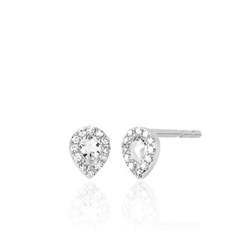 EF Collection Mini Topaz Teardrop Earrings White Gold