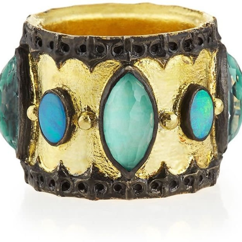 Armenta Scalloped Cigar Band Ring Opal