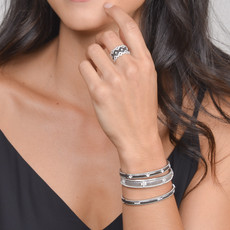 Jude Frances Simple Lisse Bangle in Blackened Silver