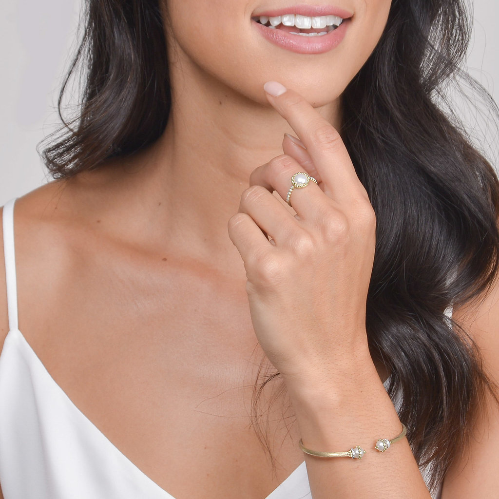Jude Frances Provence Delicate Pave Trio Pearl Ring