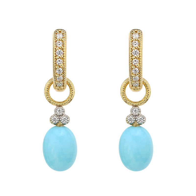 Jude Frances Provence Champagne Turquoise Briolette Earring Charms