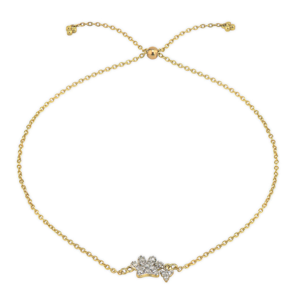 Jude Frances Petite Pave Paw Chain Bracelet