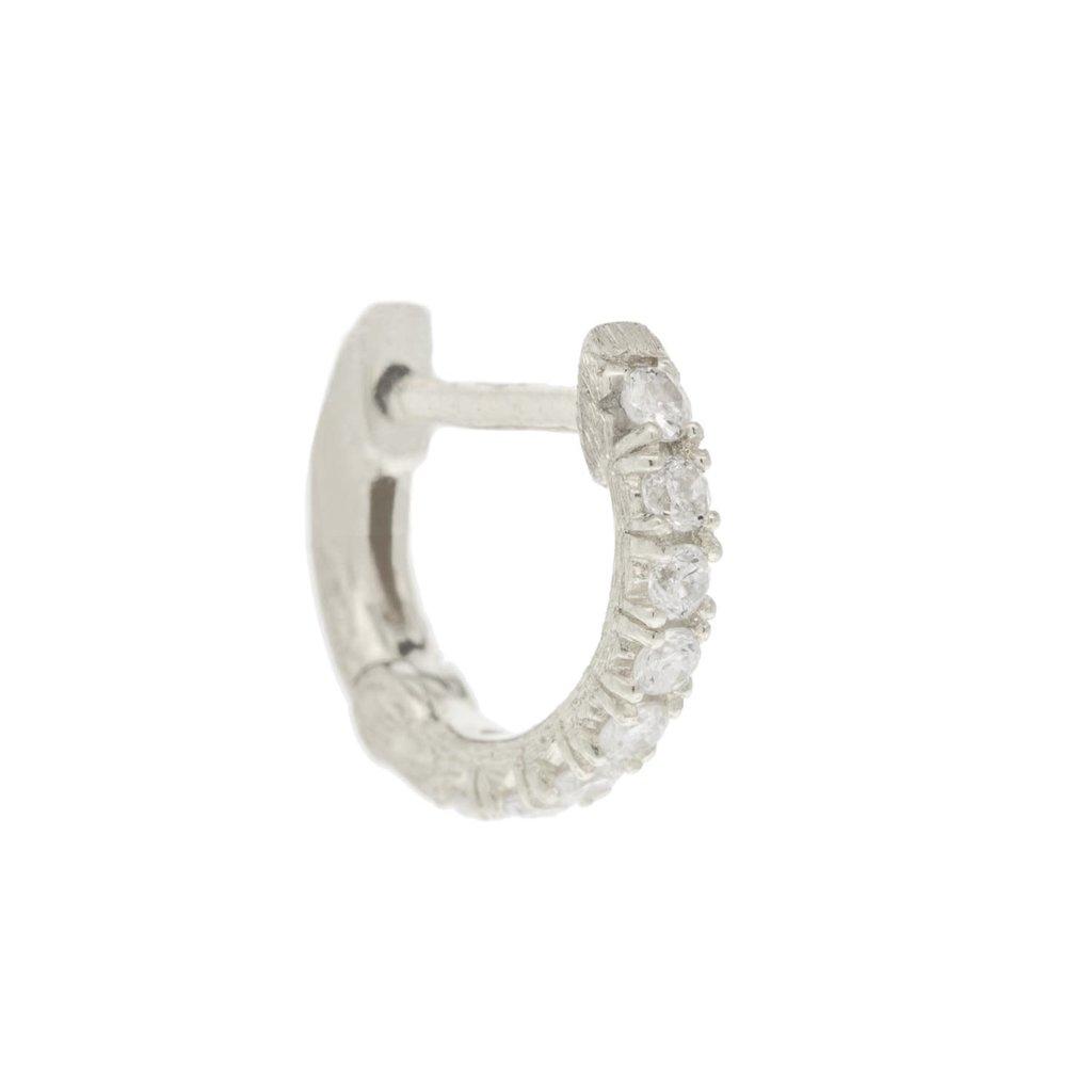 Jude Frances Petite Pave Diamond Hoop White Gold