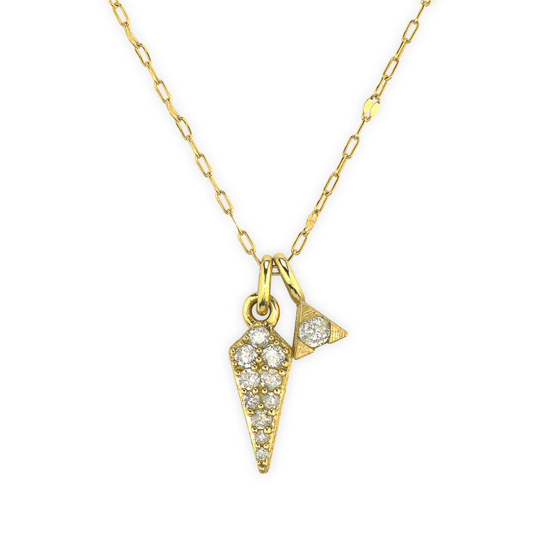 Jude Frances Petite Pave Diamond Dagger Pendant With Hanging Trillion Necklace Yellow Gold