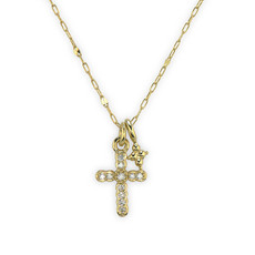 Jude Frances Petite Pave Diamond Cross Pendant With Hanging Quad Necklace