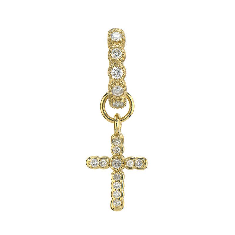 Jude Frances Petite Pave Cross Charm Yellow Gold