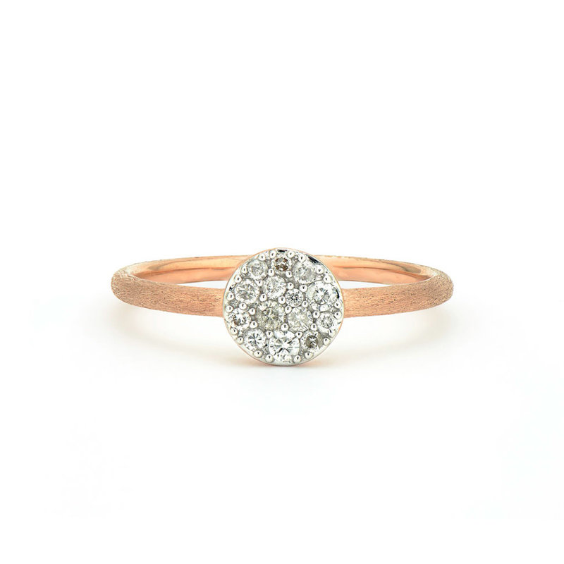 Jude Frances Petite Pave Circle Band Ring Rose Gold